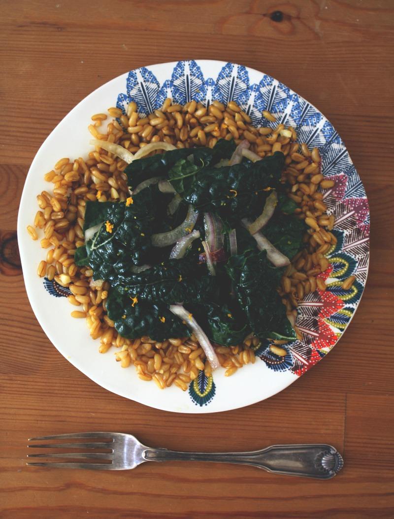 kale salad, toasted kamut, marinated salad, healthy recipe, healthy recipes, healthy salads